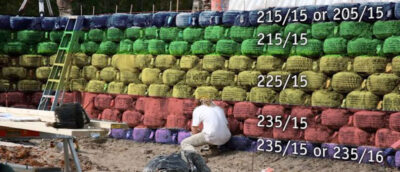 tires sizes for earthship tire walls