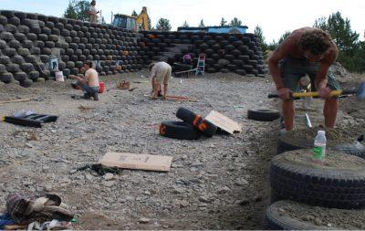 earthship biotecture tire work